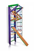 Детская шведская стенка, спортивный уголок цветной гимнастический, кольца, канат, турник-рукоход, лестница 240х80 см К3-240