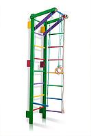 Детская шведская стенка, спортивный уголок цветной гимнастический, кольца, канат, турник, лестница 220х55 см T2-220 (green)