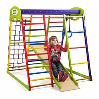Детский спортивный комплекс-уголок для дома и квартиры, сетка, горка, кольца, рукоход 130х124х132 см ЮМ