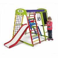 Детский спортивный комплекс-уголок для дома и квартиры, сетка, горка, кольца, рукоход 130х124х132 см ЮP 3