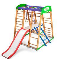 Детский спортивный комплекс-уголок для дома и квартиры: столик с лесенкой, горка, кольца 132х124х150 см КP 2, фото 1