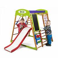 Детский спортивный комплекс-уголок для дома и квартиры, сетка, горка, кольца, рукоход 130х124х132 см КP 3