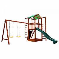 Детский игровой комплекс спортивный деревянный, площадка детская, горка, качель и песочница 320х380х440 см
