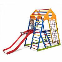 Детский спортивный комплекс-уголок для дома и квартиры, сетка, горка, кольца, рукоход 150х85х132 см KWCP 2