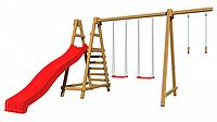 Детская площадка-игровой комплекс спортивный деревянный, горка, качели и кольца 220х360х330 см