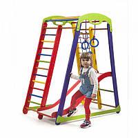 Детский спортивный комплекс-уголок для дома и квартиры, сетка, горка, кольца, рукоход 150х85х132 см К-1 P1