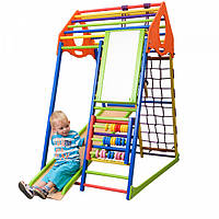 Детский спортивный комплекс-уголок для дома и квартиры, сетка, горка, кольца, рукоход 150х85х132 см КWCP