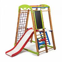 Детский спортивный комплекс-уголок для дома и квартиры, сетка, горка, кольца, рукоход 150х85х132 см К-2P3
