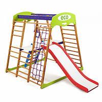 Детский спортивный комплекс-уголок для дома и квартиры, сетка, горка, кольца, рукоход 130х124х132 см КP 2