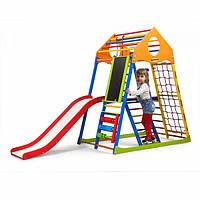 Детский спортивный комплекс-уголок для дома и квартиры, сетка, горка, кольца, рукоход 150х85х132 см KWCP 3