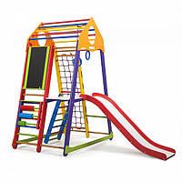Детский спортивный комплекс-уголок для дома и квартиры, сетка, горка, кольца, рукоход 170х85х132 см BWCP 3