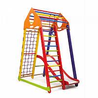 Детский спортивный комплекс-уголок для дома и квартиры, сетка, горка, кольца, рукоход 170х85х132 см BWCP1