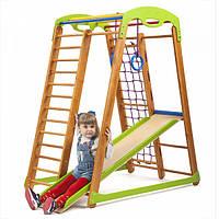 Детский спортивный комплекс-уголок для дома и квартиры, сетка, горка, кольца, рукоход 150х85х132 см К-2М