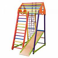 Детский спортивный комплекс-уголок для дома и квартиры, сетка, горка, кольца, рукоход 170х85х132 см BWC