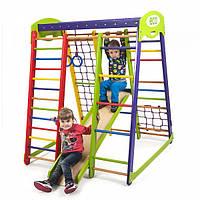 Детский спортивный комплекс-уголок для дома и квартиры, сетка, горка, кольца, рукоход 132х124х150 см AM
