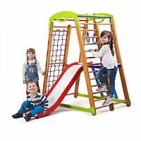 Детский спортивный комплекс-уголок для дома и квартиры, сетка, горка, кольца, рукоход 150х85х132 см К-2P2