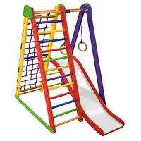 Детский спортивный комплекс-уголок для дома и квартиры, сетка, горка, кольца 130х100х80 см K-S-4