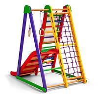 Детский спортивный комплекс-уголок для дома и квартиры, сетка, горка, кольца 130х100х80 см K-S-2
