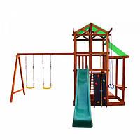 Детский игровой комплекс спортивный деревянный - площадка детская, горка, качель и песочница 320х440х460 см