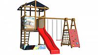 Детская площадка-комплекс спортивный деревянный, башня с песочницей, горка, качели и кольца 315х400х420 см