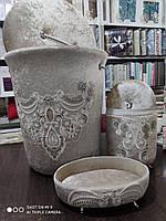 Набор бархатных корзин в ванную комнату ART OF SULTANA 3 предмета бежевый