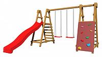 Детская площадка-игровой комплекс спортивный деревянный, горка, качели и кольца 220х330х350 см