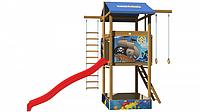 Детская площадка-комплекс спортивный деревянный, горка, башня с песочницей, качели и кольца 315х400х145 см