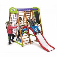 Детский спортивный комплекс-уголок для дома и квартиры, сетка, горка, кольца, рукоход 150х124х132 см КP 3