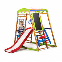 Детский спортивный комплекс-уголок для дома и квартиры, сетка, горка, кольца, рукоход 130х85х132 см BWP 3