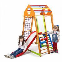 Детский спортивный комплекс-уголок для дома и квартиры, сетка, горка, кольца, рукоход 170х85х132 см BWP 3