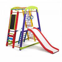 Детский спортивный комплекс-уголок для дома и квартиры, сетка, горка, кольца, рукоход 150х85х132 см K-1 P 3