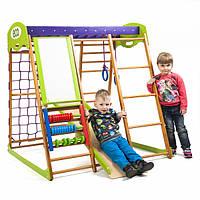 Детский спортивный комплекс-уголок для дома и квартиры, сетка, горка, кольца, рукоход 130х124х132 см К
