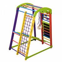 Детский спортивный комплекс-уголок для дома и квартиры, сетка, горка, кольца, рукоход 150х85х132 см К 1