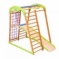 Детский спортивный комплекс-уголок для дома и квартиры, сетка, горка, кольца, рукоход 130х85х132 см BW