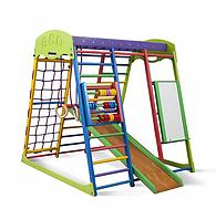 Детский спортивный комплекс-уголок для дома и квартиры, сетка, горка, кольца, рукоход 130х124х132 см Ю