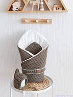 """Вязанный набор на выписку """"Косы"""": конверт + шапочка, цвета хаки, фото 1"""