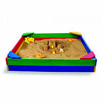 Детская Деревянная Квадратная Песочница с лавочкой и бортиками, для улицы и дачи, разноцветная 145х145х30 см