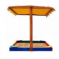 Детская Деревянная Песочница с регулируемой тентовой крышей, скамеечками, для улицы и дачи, 140х145х145 см