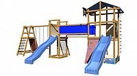 Детская площадка-игровой комплекс спортивный деревянный, песочница, горки, мостик, лестница 240х360х380 см