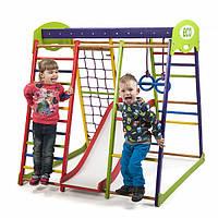 Детский спортивный комплекс-уголок для дома и квартиры, сетка, горка, кольца, рукоход 130х124х132 см ЮP 1