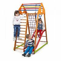 Детский спортивный комплекс-уголок для дома и квартиры, сетка, горка, кольца, рукоход 170х85х132 см BWP 1