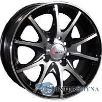 Литые диски Sportmax Racing SR-385 6x14 4x98 ET38 DIA58.6 Black polished (Черный с полированной лицевой частью)