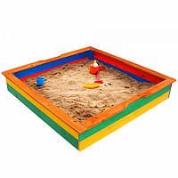 Детская Деревянная Компактная Песочница с лавочкой, для улицы и дачи, цветная 145х145х23 см