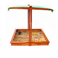 Детская Деревянная Классическая Песочница с регулируемой тентовой крышей, для улицы и дачи 140х145х145 см