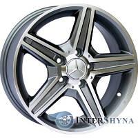 Replica Mercedes CT1455 8x18 5x112 ET45 DIA66.6 Gun metal full polish (Темно-серый с полированным ободом)
