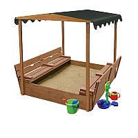Детская Деревянная Песочница с крышей-навесом, складными лавочками и крышкой, для улицы и дачи 145х145х180 см