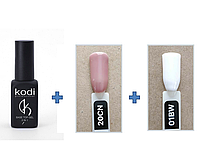 Набір гель лаків для Френча Kodi Professional, База і Топ(2 в 1)+ Гель лак 2 шт, фото 1