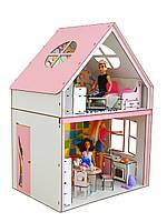 """Кукольный ЭКО домик для кукол Барби (Barbie) """"Загородный"""" с мебелью и текстилем 50х34х69 см (3122)"""