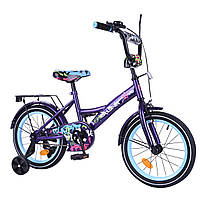 """Детский двухколесный велосипед фиолетовый TILLY EXPLORER  16"""" звоночек, передний тормоз для деток 4-6 лет"""