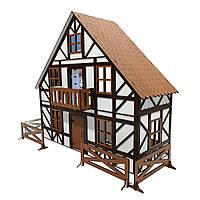 """Кукольный трехэтажный Домик для кукол ЛОЛ LOL """"Баварский"""" с заборчиком, мебелью и текстилем 46х21х45 см (2302)"""